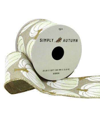 Simply Autumn Ribbon 2.5''x12'-Ivory Pumpkins on Natural