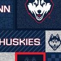 University of Conneticut Huskies Fleece Fabric-College Patch