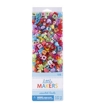 Little Makers 4.41 oz. Assorted Beads-Alphabet on Multi