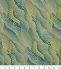 Asian Inspired Cotton Fabric 43\u0022-Packed Waves Teal Metallic