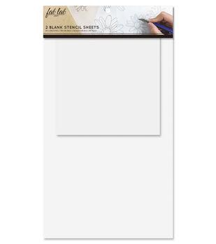 Fab Lab 2 pk Blank Stencil Sheets-White