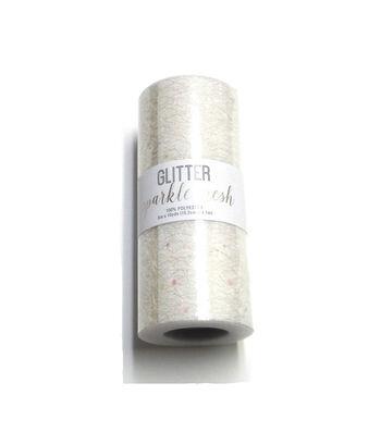 Wyla Glitter Sparkle Mesh 6''x10 yds-Ivory