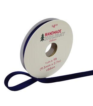 Handmade Holiday Christmas Velvet Ribbon 3/8''x9'-Navy Blue