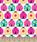 Snuggle Flannel Fabric -Multi Ladybugs