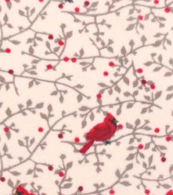 "Anti-Pill Fleece Fabric 59""-Cardinals On Vines"