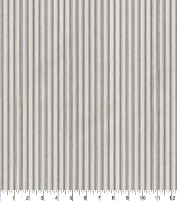 """Waverly Upholstery Fabric 13x13"""" Swatch-Classic Ticking Graphite"""
