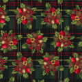 Holiday Cotton Fabric -Berries and Bells on Plaid