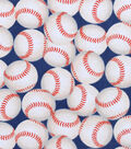 Snuggle Flannel Fabric -Baseballs On Navy