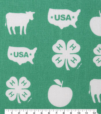 4-H Cotton Fabric-Logos