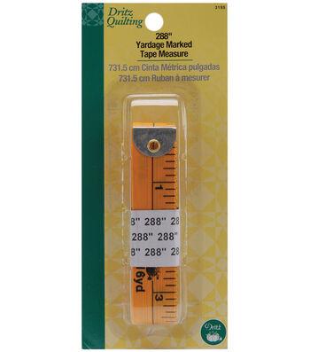 "Dritz Quilting 288"" Yardage Marked Tape Measure Yellow"