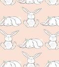 Nursery Flannel Fabric 42\u0027\u0027-Bunnies in Line on Coral