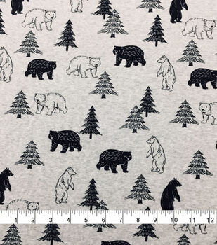 Doodles Cotton Spandex Interlock Knit Fabric-Light Gray Heather Bears