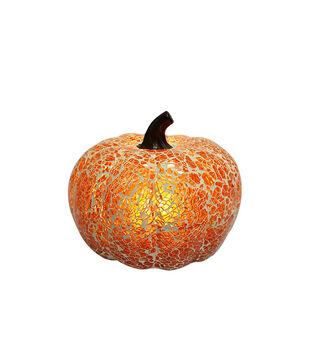 Simply Autumn 6'' Light Up LED Glass Pumpkin-Orange Crack