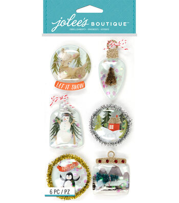 Jolee's Boutique Stickers-Snow Globes Ornament