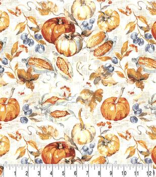 Harvest Cotton Fabric-Cream Watercolor Harvest Bounty