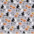 Halloween Cotton Fabric-Boo! & Witches