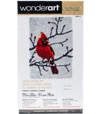 "Wonderart Classic Latch Hook Kit 20""X30""-Cardinal"