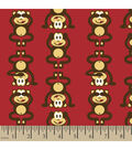 Snuggle Flannel Fabric -Monkeys Red