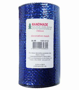 Handmade Holiday Metallic Decorative Mesh Ribbon 5.5''x30'-Navy
