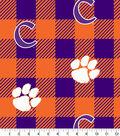 Clemson Tigers Fleece Fabric-Buffalo Plaid