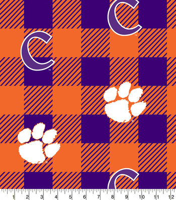 Clemson Tigers Fleece Fabric-Buffalo Plaid