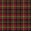 Christmas Cotton Fabric-Green Plaid with Glitter