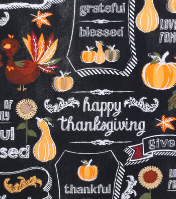 "Harvest Cotton Fabric 43""-Give Thanks Chalkboard"