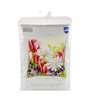 Vervaco Needlepoint Cushion Top Kit 16''X16''-Spring Flowers Stitched