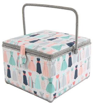 Square Sewing Basket-Dress Prints on Gray
