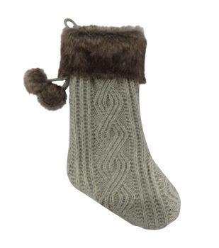 Handmade Holiday Christmas 21'' Stocking with Fur-Gray