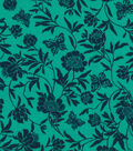 Quilter\u0027s Showcase Fabric 44\u0027\u0027-Pool Green & Navy Butterfly Floral