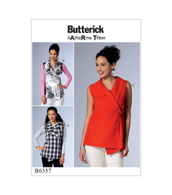 Butterick Pattern B6357 Misses' Wrap Tops with Shawl Collar Size 4 14, , hi-res, image 1