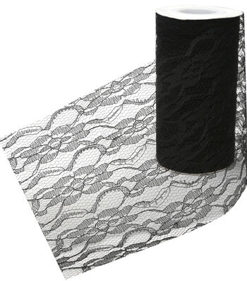Decorative Ribbon Lacey Ribbon 6''x15yds-Black