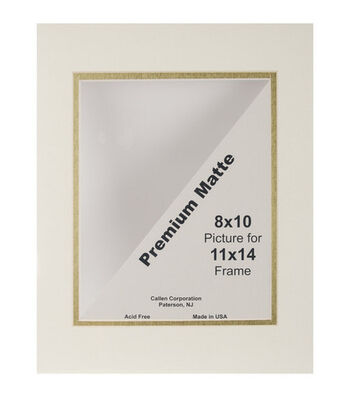 """Photo Mat 11""""X14"""" Double Hand-Cut With Bevel Edge-Ivory/Gold"""