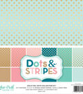 Echo Park Paper Company Dots & Stripes Collection Kit with Gold Foil
