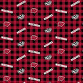 Wisconsin Badgers Flannel Fabric-Checks
