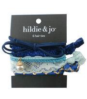 hildie & jo 6 Pack Hair Ties-Blue, , hi-res