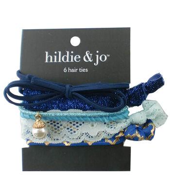 hildie & jo 6 Pack Hair Ties-Blue