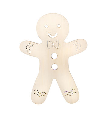 Fab Lab Large Wood Base-Laser Cut Gingerbread Man