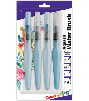 Pentel Arts Aquash 4 pk Water Brushes with Assorted Tips