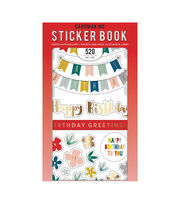American Crafts Sticker Book 30/Pkg-Birthday Greetings W/Gold Foil, , hi-res