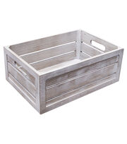 Fab Lab Medium White Wash Crate with Handles, , hi-res