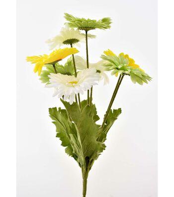 Fresh Picked Spring 17'' Gerbera Daisy Bush-Yellow, Green & White