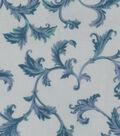 Premium Cotton Fabric-White & Teal Vine Scrolls