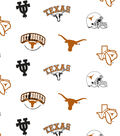 University of Texas Longhorns Cotton Fabric 44\u0022-White All Over