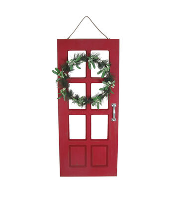 Maker's Holiday Christmas Door with Wreath Wall Decor