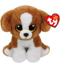 TY Beanie Boo Brown White Dog-Snicky