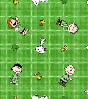 St. Patrick's Day Cotton Fabric-Snoopy & Friends on Plaid