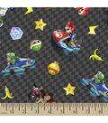 Nintendo Checkered Character Print Fabric