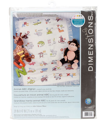 Animal ABC Afghan Counted Cross Stitch Kit 18 Count